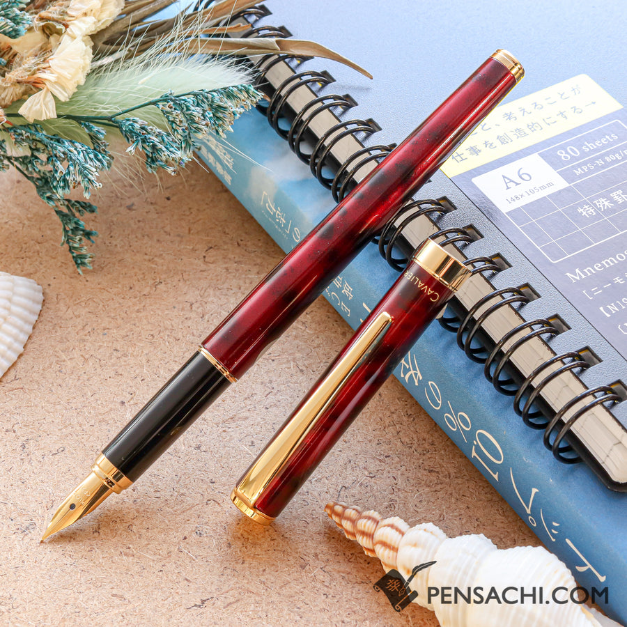 PILOT Cavalier Fountain Pen - Marble Red - PenSachi Japanese Limited Fountain Pen