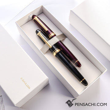Limited Set SAILOR Promenade Fountain Pen - Sparkling Black & Red Gold - PenSachi Japanese Limited Fountain Pen