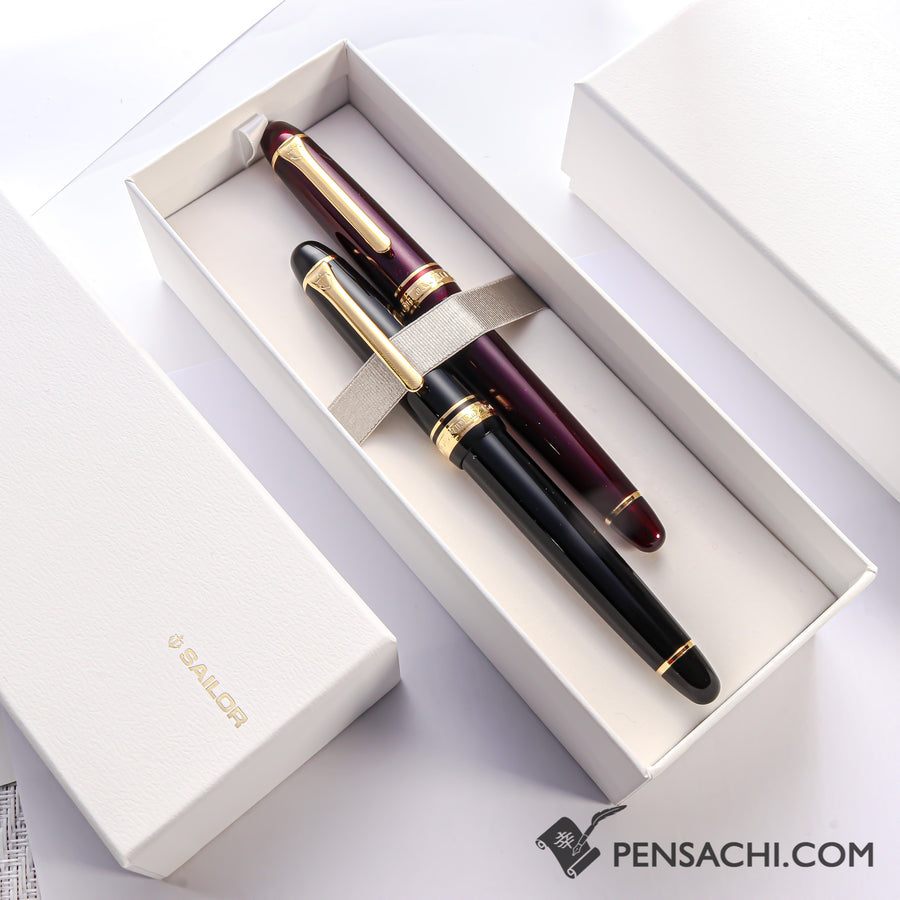 【Limited Set】 SAILOR Promenade Fountain Pen - Sparkling Black & Red Gold - PenSachi Japanese Limited Fountain Pen