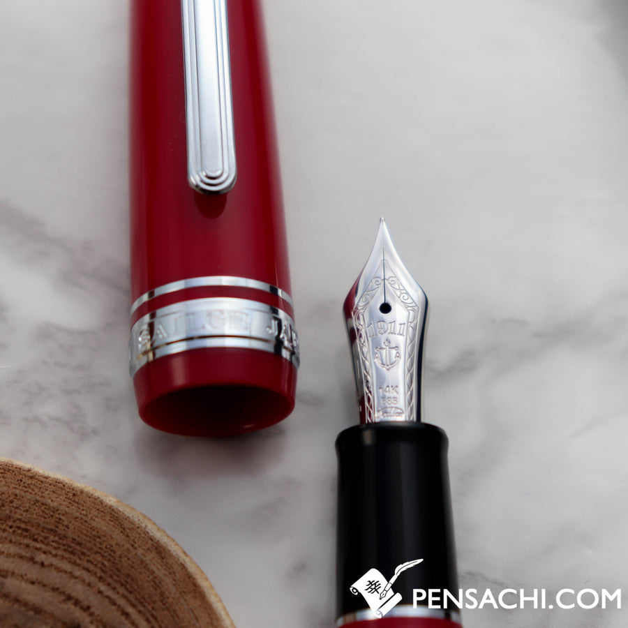 SAILOR Pro Gear Slim (Sapporo) Fountain Pen - Red Silver - PenSachi Japanese Limited Fountain Pen