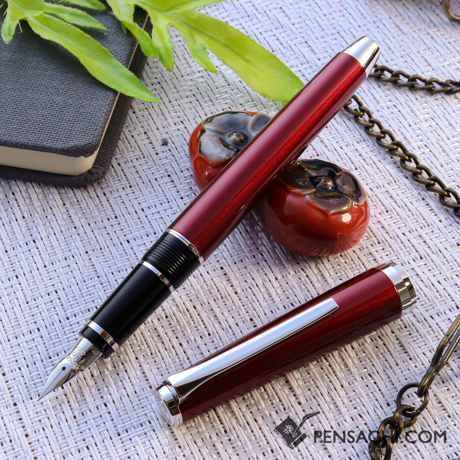 PILOT Falcon Elabo Metal Fountain Pen - Red - PenSachi Japanese Limited Fountain Pen