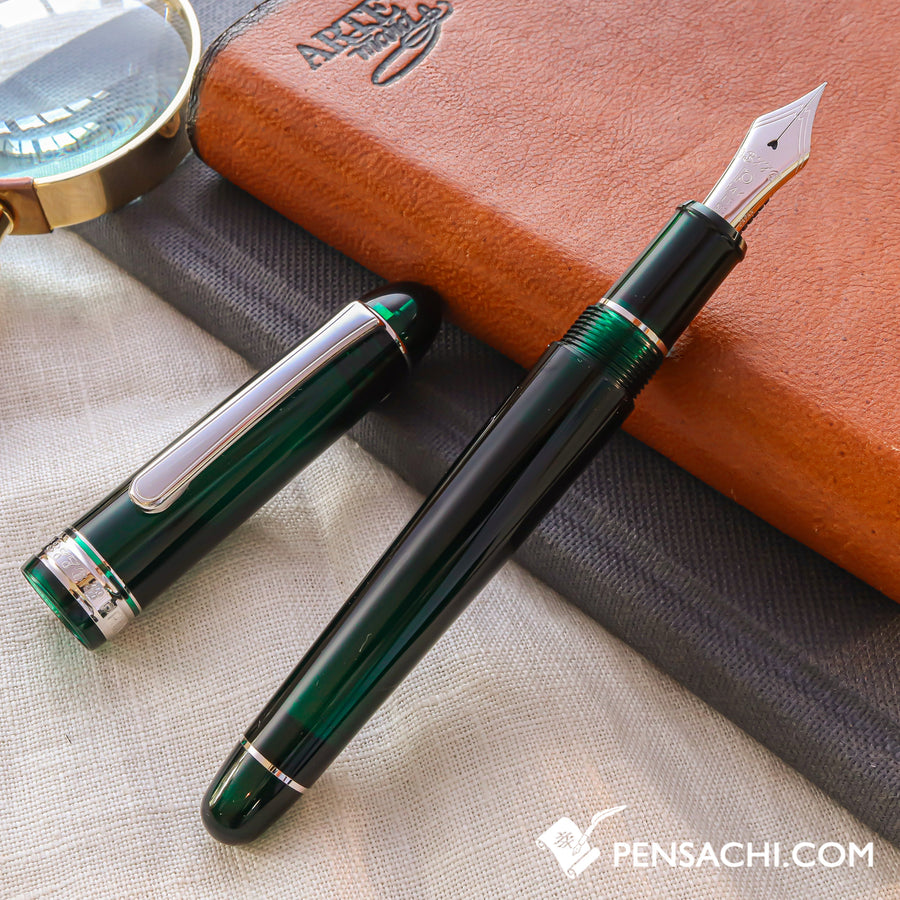 PLATINUM #3776 Century Rhodium Fountain Pen - Laurel Green - PenSachi Japanese Limited Fountain Pen