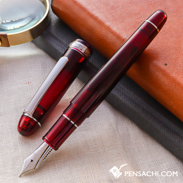 PLATINUM #3776 Century Rhodium Fountain Pen - Bourgogne - PenSachi Japanese Limited Fountain Pen