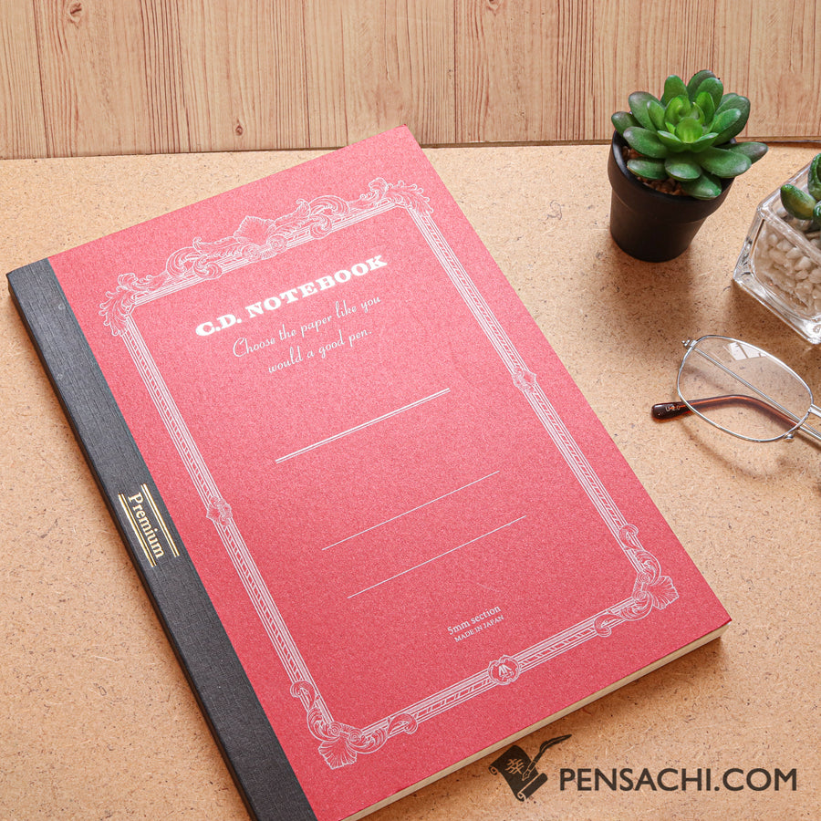 Premium C.D. Notebook B5 Red - 5mm Graph - PenSachi Japanese Limited Fountain Pen
