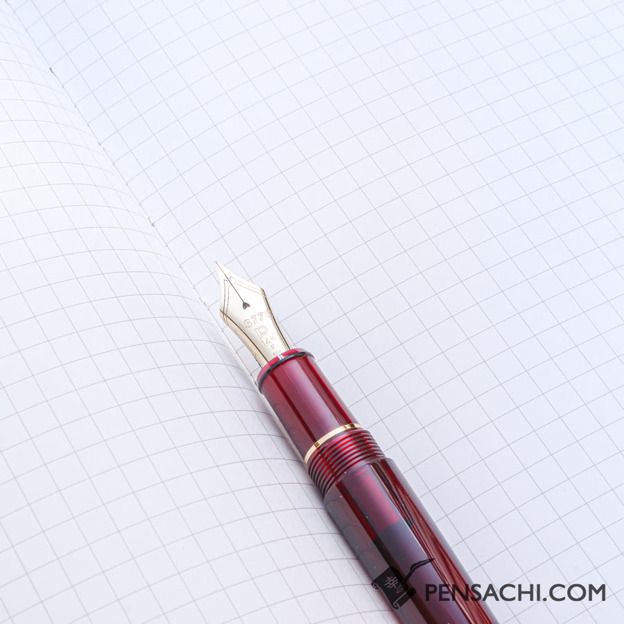 Premium C.D. Notebook A5 Red - 5mm Graph - PenSachi Japanese Limited Fountain Pen