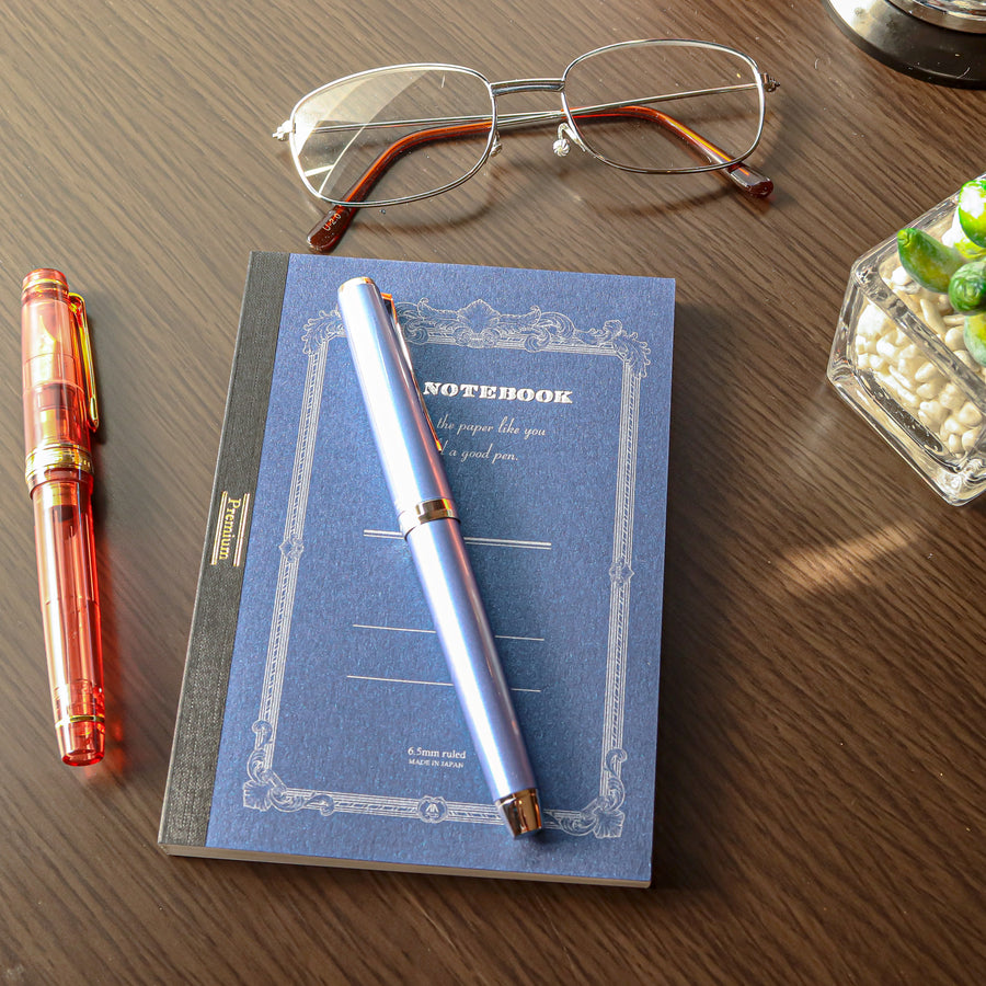 Premium C.D. Notebook A6 Blue - 6.5mm - Ruled, 18 lines - PenSachi Japanese Limited Fountain Pen