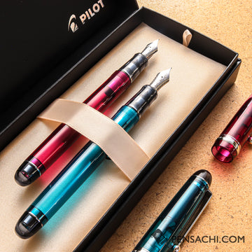 Limited Set Pilot Custom 74 Turquoise Green & Wine Red - PenSachi Japanese Limited Fountain Pen