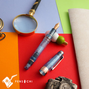 SAILOR Limited Edition Pro Gear Large Realo Demonstrator Fountain Pen - Marine Blue Fountain Pen- PenSachi Japanese Limited Fountain Pen