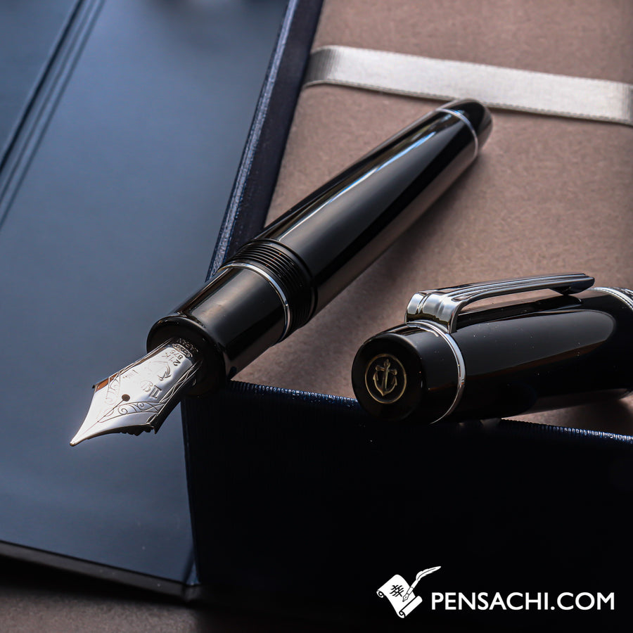 SAILOR King of Pens Pro Gear Fountain Pen - Black Silver - PenSachi Japanese Limited Fountain Pen