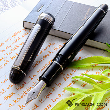 PLATINUM #3776 Century Rhodium Fountain Pen - Black Diamond - PenSachi Japanese Limited Fountain Pen