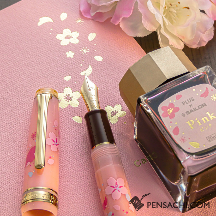 Limited Edition Set SAILOR Pro Gear Slim Demonstrator Fountain Pen - Sakura Pink - PenSachi Japanese Limited Fountain Pen