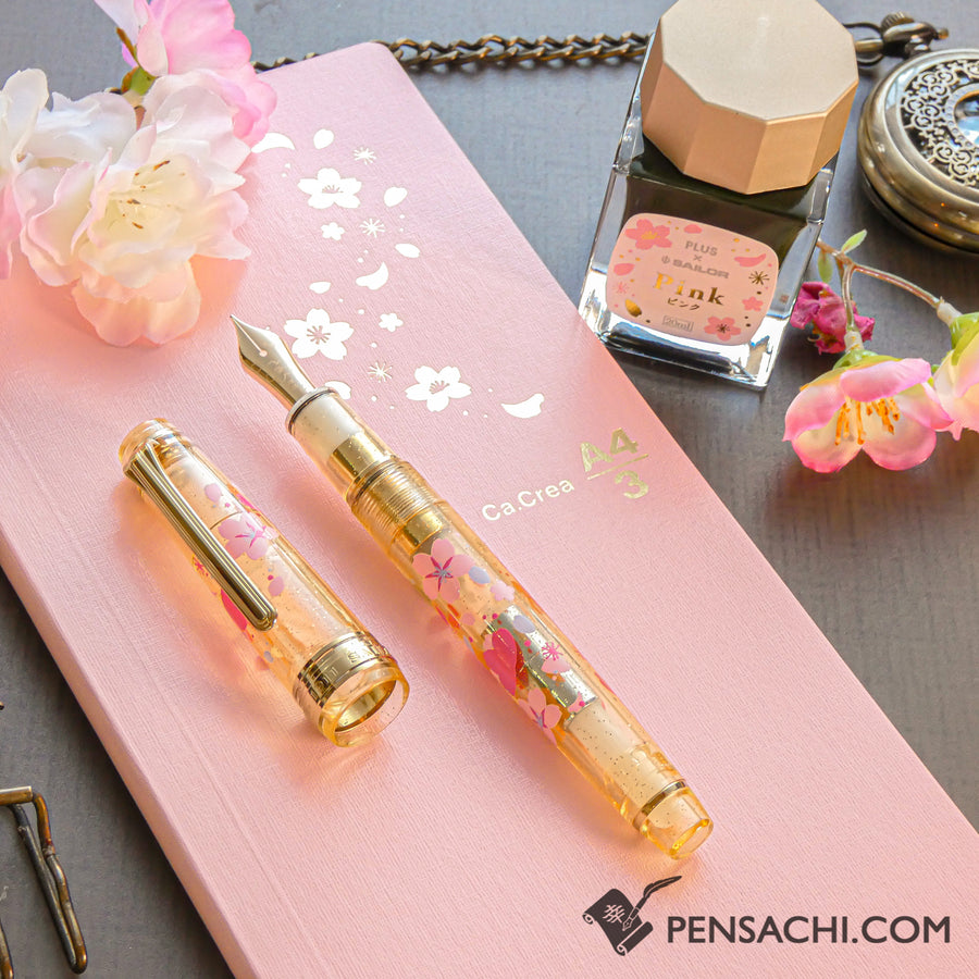 【Limited Edition Set】 SAILOR Pro Gear Slim Demonstrator Fountain Pen - Sakura Gold - PenSachi Japanese Limited Fountain Pen