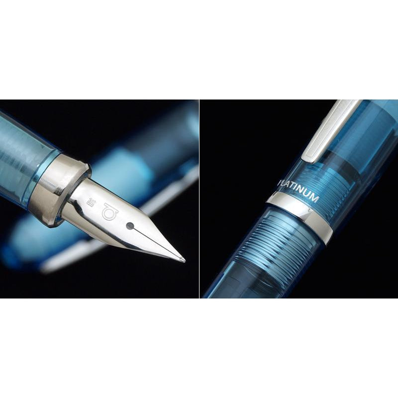 PLATINUM Balance Demonstrator Stainless Steel Nib Fountain Pen - Crystal Blue
