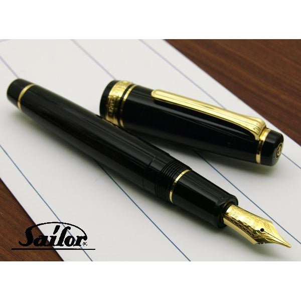 SAILOR Professional Gear Naginata Togi Gold Trim 21K Gold Naginata Togi Nib Fountain Pen - Black