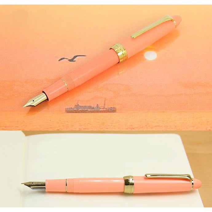 Sailor Limited Edition Pro-Color Stainless Steel Gold Plated Fountain Pen - Hatoba Coral Pink