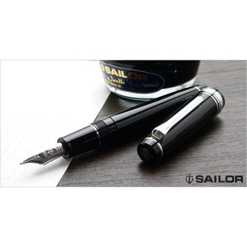 SAILOR Professional Gear Naginata Togi Rhodium Trim 21K Gold Naginata Togi Nib Fountain Pen - Black