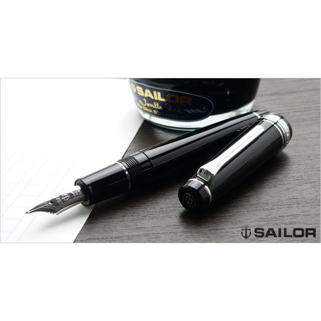 SAILOR Pro Gear Classic Naginata Togi Fountain Pen - Black Silver - PenSachi Japanese Limited Fountain Pen