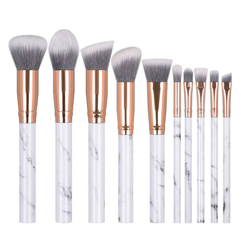 Professional Marble Pattern Makeup Brushes - 10Pcs