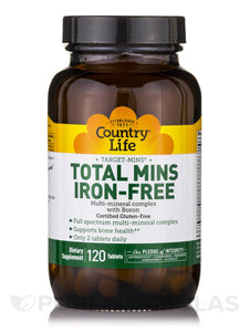 Country Life - Total Mins Iron-Free - 120 Tablets