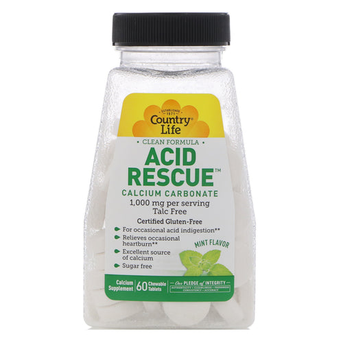 Country Life - Acid Rescue Mint Flavor - 60 Chewable Tablets