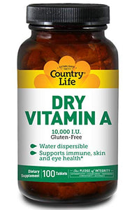 Country Life - Dry Vitamin A - 100 Tablets