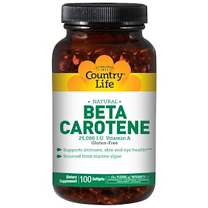Country Life - Natural Beta Carotene 25,000 I.U. Vit A 100 softgels