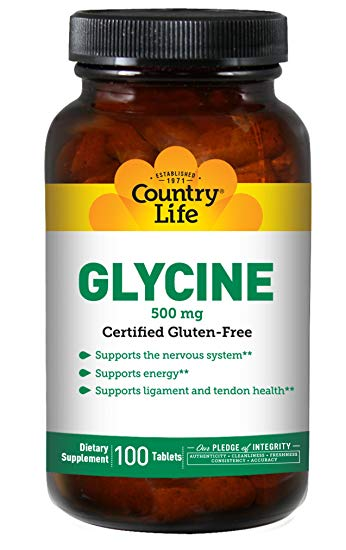 Country Life - Glycine  w/ Vitaimin B6  - 100 Tablets
