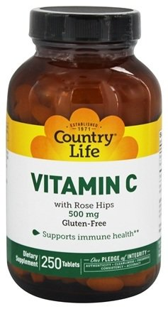Country Life - Vitamin C w/ Rose Hips - 250 Tablets