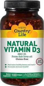 Country Life - Natural Vitamin D3 - 100 Softgel