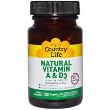 Country Life - Natural Vitamin A & D3 - 100 Softgel