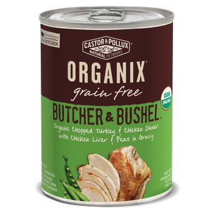 Castor and Pollux Organix Butcher and Bushel Organic Chopped Turkey and Chicken Dinner with Chicken Liver and Peas Canned Dog Food