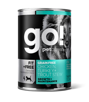 Petcurean Go! Fit and Free Grain Free Chicken Turkey and Trout Stew Canned Dog Food