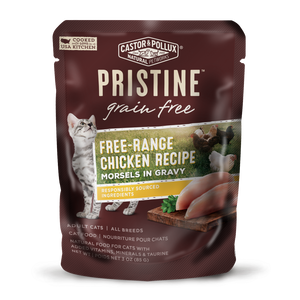 Castor and Pollux Pristine Grain-Free Free-Range Chicken Morsels in Gravy Wet Cat Food Pouches