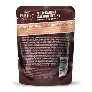 Castor and Pollux Pristine Grain Free Wild Caught Salmon Morsels in Gravy Wet Cat Food Pouches