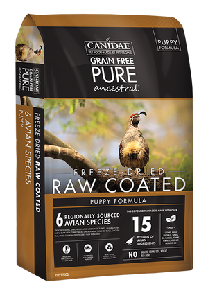 Canidae PURE Ancestral Grain Free Avian Puppy Recipe with Quail, Chicken, & Turkey Raw Coated Dry Dog Food