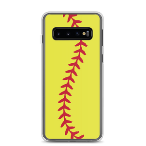 Softball Stitch Samsung Case - Yellow