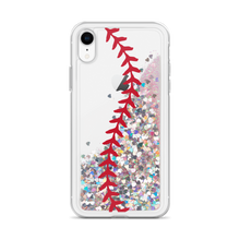 Load image into Gallery viewer, Softball Stitch Liquid Glitter iPhone Case