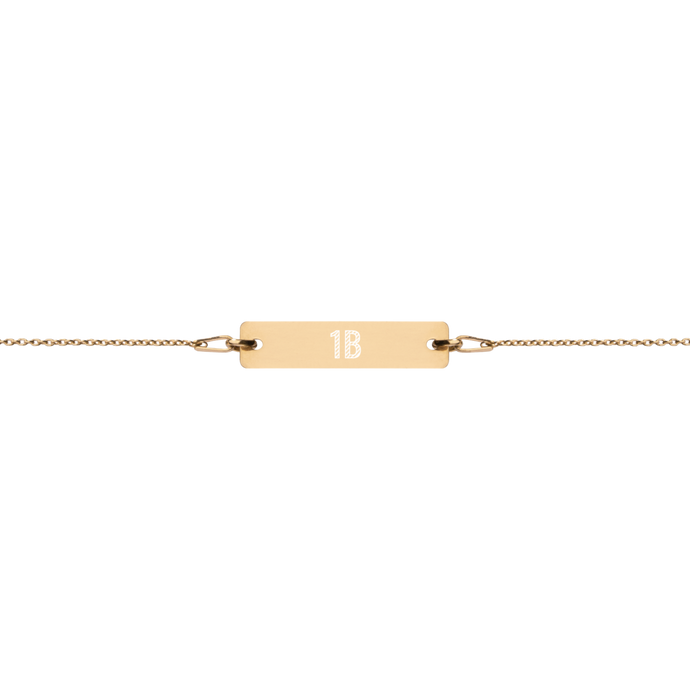Engraved Bar Chain Bracelet - 1st Base