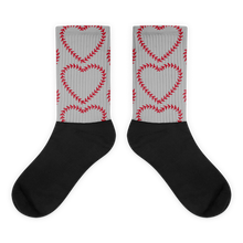 Softball Heart Socks - Grey