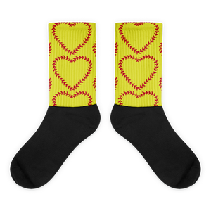 Softball Heart Socks - Yellow
