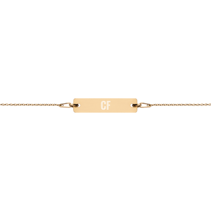 Engraved Bar Chain Bracelet - Center Field
