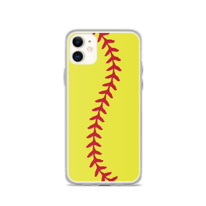 Softball Stitch iPhone Case - Yellow
