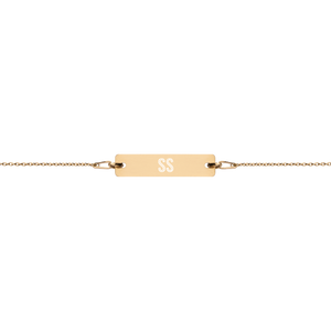 Engraved Bar Chain Bracelet - Short Stop