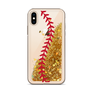 Softball Stitch Liquid Glitter iPhone Case