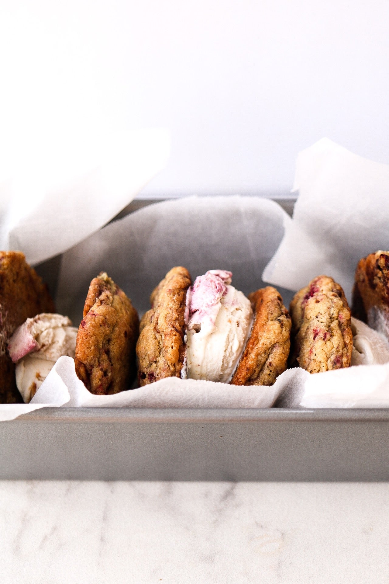Raspberry Chocolate Chunk Ice Cream Sandwiches Article