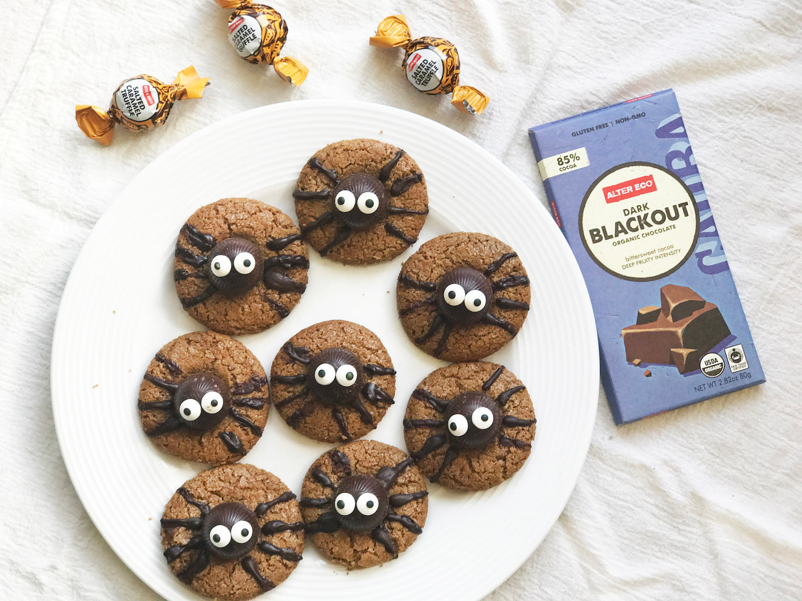 Gluten Free Almond Butter Chocolate Spider Cookies