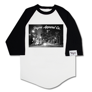 Los Angeles City Lights Raglan (Black On White)