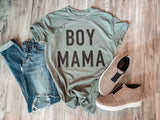 Boy/Girl Mama Black Glitter Tee