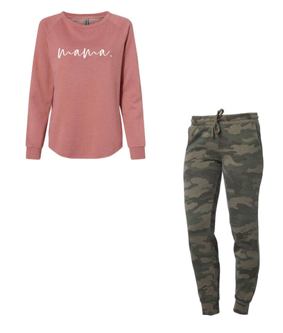 mama. dusty rose/camo lounge set