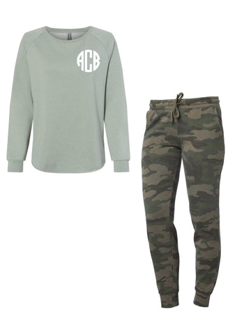 Monogram sage/camo lounge set